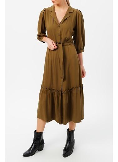 Random Kadın Truvakar Kol Belden Bağlamalı Elbise Haki